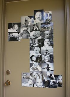 Photo display in the shape of the age of child's birthday you are celebrating. Forget the shape.. I like thé idea of sticking pictures of them on the doit