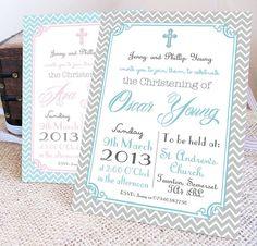 personalised 'christening' invitations by precious little plum   notonthehighstree...