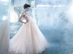 Lazaro tulle gown, sash sweep train #bridetobe #WeddingDress
