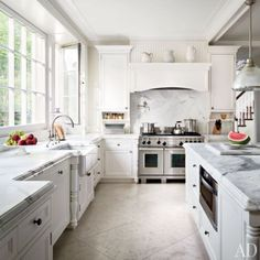 Architectural Digest white marble kitchen, beautiful