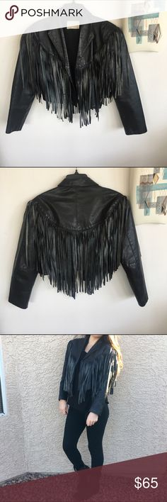 Vintage Leather Cropped Fringe Jacket This jacket is awesome and unique! Black leather fringe cropped jacket. In good condition but it could use a cleaning. Some spots throughout the jacket I tried to capture in the photos. Size M. Vintage Jackets & Coats