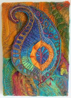 """chelle textiles This would be a good way to balance """"passing through"""" Thread Painting, Fabric Painting, Fabric Art, Fabric Crafts, Free Motion Embroidery, Embroidery Art, Machine Embroidery, Textile Fiber Art, Textile Artists"""