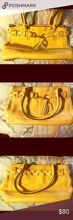 Coach leather shoulder bag Mustard yellow leather coach shoulder bag. Outside is in good condition with slight marks on lining. In need of loving home. Coach Bags Shoulder Bags