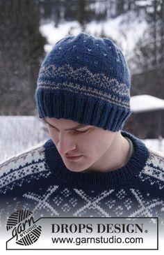 """Strikket DROPS hue til herre i """"Karisma"""" med norsk mønster ~ DROPS Design"""