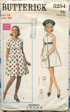 1960s Butterick 5254 - Mod Maternity One-Piece Dress - Vintage Sewing Pattern - Bust 36. $10.00, via Etsy.
