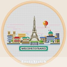 Welcome to France  Cross stitch pattern by AnitaStitch on Etsy