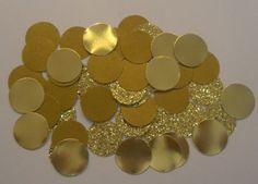Big gold circles on the tables/around centerpieces would be cute and very kate spade! you could just buy a circle paper cutter and paper and diy!  Gold Wedding Confetti Gold Glitter Confetti by SignsationalSayings, $5.50