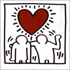 Keith Haring (two figures one heart).