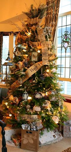 Any Christmas Tree would look amazing with a whiskey barrel planter underneath.... Christmas Tree- Love the rustic look!!!