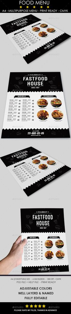 Food Menu - Food Menus Print Templates Download here : https://graphicriver.net/item/food-menu/10302220?s_rank=921&ref=Al-fatih