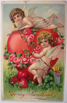 Vintage Valentine's Day Postcard by riptheskull, via Flickr