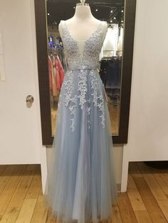 A-line V-neck Silver Lace Appliqued Long Formal Cheap Prom Dresses,APD - SheerGirl