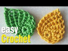 Crochet: How to Crochet Tunisian Leaf for Beginners. Crochet Leaf Free Pattern, Crochet Flower Tutorial, Crochet Leaves, Crochet Flower Patterns, Crochet Motif, Crochet Flowers, Easy Crochet, Free Crochet, Crochet Coaster