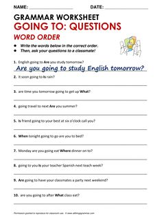 English Grammar Going To: Questions - Word Order www.allthingsgrammar.com/word-order.html