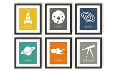 Astronomy Art Outer Space Space Nursery Rocket Art by twowhiteowls