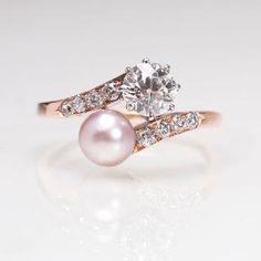 Jugendstil-Perl-Diamant-Ring