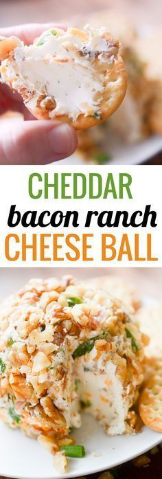 Cheddar Bacon Ranch Cheese Ball - perfect Holiday appetizer to bring to any of your parties you have going on between now and Christmas