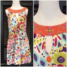 "Bead & Jewel Sundress - Reduced Joyous & Free. Size Lg. Beautiful beads and jewels adorn the neckline of this bright sundress.  Approx knee length (I am 5' 8""). Super soft and comfy. Perfect worn condition. 95% cotton. 5% spandex. No holes, stains or tears. Bought in a boutique in the Florida Keys. Joyous & Free Dresses"