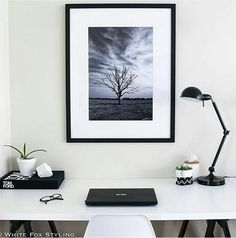 Stunningly moody 'Test of Time' from the A&L collection styled in this simple yet beautiful monochrome office space by White Fox Styling  http://www.unitedartworks.net/artwork/alisa-lysandra/test-of-time