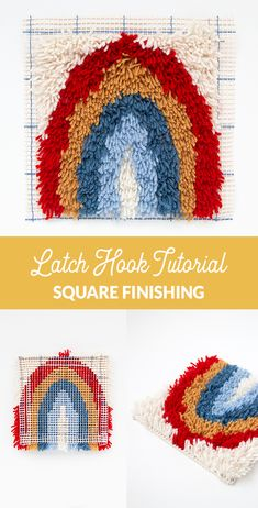 Square latch hook finishing tutorial: Learn how to do finishing in latch hook projects with square corners. This is a work-as-you-go method that helps you save time during the finishing process in latch hook rug making. #latchhook #rugmaking #rughooking #rugbinding Craft Tutorials, Craft Blogs, Craft Projects, Rug Hooking, Locker Hooking, Rug Binding, Hook Knot, Yarn Crafts For Kids, Yarn Wall Art