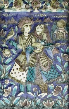 Three Qajar underglaze-painted moulded pottery Tiles   Persia, circa 1880  rectangular, decorated in polychrome, two depicting a mounted hawksman and a couple reserved on a blue landscape, each with upper border with floral vine, framed   the largest 36 x 23.5 cm. approx