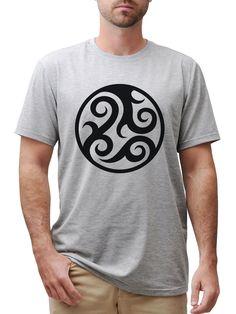 Vietsbay's Round Tattoo 2 Color Printed Cotton V-neck Men T-shirt MTS_03