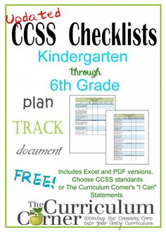 """Updated CCSS Checklists and """"I Can"""" Statement Checklists from The Curriculum Corner for kindergarten, 1st grade, 2nd grade, 3rd grade, 4th grade, 5th grade & 6th grade!"""