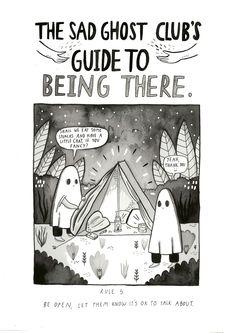 The Sad ghost's sad ghost club. A club for raising positive mental health awareness, through comics and community Ghost Comic, Comics In English, Vent Art, Dibujos Cute, Cute Comics, Cute Illustration, Motivation, Dark Art, Art Drawings