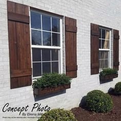 ~Listing is for ONE PAIR = 2 SHUTTERS ! ** Farmhouse Board and batten style Shutters ** ~ A perfect way to add curb appeal to your home! SHUTTER DETAILS:: ~ Custom made to order. ~ Made from rough sawn Red Cedar. ~Pictured shutters are wide and done i Farmhouse Shutters, Cedar Shutters, Farmhouse Windows, Exterior Shutters, Rustic Shutters, Diy Shutters, Outdoor Shutters, Rustic Exterior, Houses With Shutters