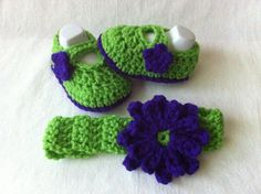 Flower Headband and Mary Janes Booties set - Infant Sandals - Green and Royal Blue -3 Sizes- Crochet Baby Shoes, Seattle Seahawks Photo Prop on Etsy, $22.00