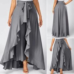 Grey High Waist Slimming Pants With Skirt Tie Front Grey Side Zipper Overlay Pants Tie Waist Side Zipper Grey Overlay Pants—LOVE this look and need to figure out how to make them! Palazzo skirts for all occasions. Ideas for creativity, patterns. Beautiful Outfits, Cool Outfits, Dress Skirt, Dress Up, Skirt Pants, Ruffle Pants, Mode Hijab, African Fashion, Plus Size Fashion