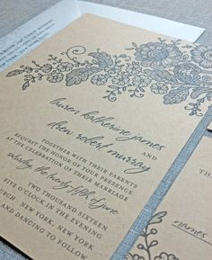 Lauren Kraft Lace Wedding Invitation Sample by CricketPrinting-  kraft and blue