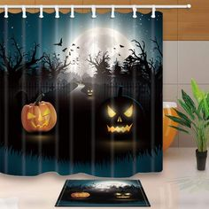 CdHBH Halloween Decor Horrible Pumpkin at Moon Night with Bat Mildew Resistant Polyester Fabric Shower Curtain Suit With Flannel NonSlip Floor Doormat Bath Rugs ** See this terrific item. (This is an affiliate link ). Halloween Shower Curtain, Non Slip Flooring, Fabric Shower Curtains, Bath Rugs, Halloween Decorations, Doormat, Pumpkin, Night, 50s Diner