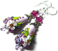 Lampwork Earrings Handmade Floral Lampwork Beads ♥ by SeeMyJewelry, $30.00