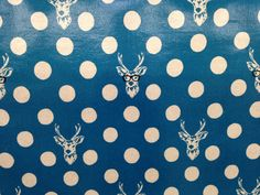 Blue polka dot pattern with deer on vinyl