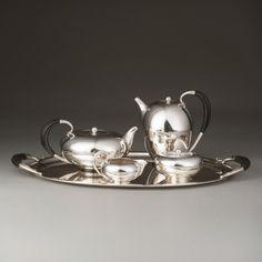 Georg Jensen Johan Rohde Tea and Coffee Set on Tray Design Number 787 1933 Made     circa 1933 (tray c1945)