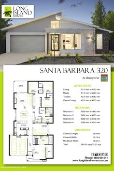 Long Island Homes 2018 Floor Plan of the Santa Barbara 320 Display as featured at Upper Point Cook estate in Point Cook, Victoria Australia Flat House Design, Bungalow Haus Design, Modern House Design, Bungalow Floor Plans, Home Design Floor Plans, House Floor Plans, House Layout Plans, Dream House Plans, House Layouts