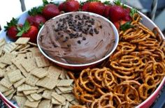 Brownie Batter Dip recipe- pair with pretzels, graham crackers and strawberries. Good for a party dessert platter.