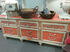 Amazing Caribbean Coral and Creamy Linen Dresser