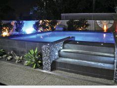 Modern rectangle pool pool party pinterest for Piscina elevada rectangular