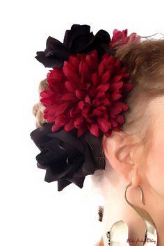 TRIBAL FUSION belly dance hair flower FASCINATOR set: 2 black roses & 1 dark red dahlia - Goth Lolita hair jewelry Fantasy fairy headpiece. €16.00, via Etsy.
