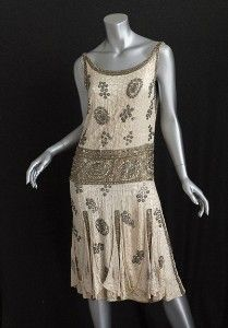 Beaded satin flapper dress, c.1925