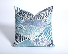 Blue Rolling Hills Pillow Cover / Invisible Zipper by Pillomatic