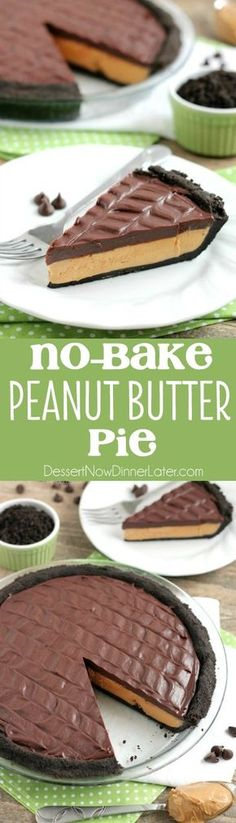 This No-Bake Peanut Butter Pie with an oreo crust, whipped peanut butter filling, and silky chocolate ganache will have you savoring every decadent bite!