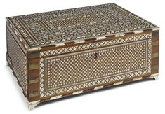 An Anglo-Indian brass-mounted and bone inlaid rosewood jewellery box, century Modern Art, Contemporary, Casket, Jewellery Box, 19th Century, Decorative Boxes, Auction, Brass, Indian