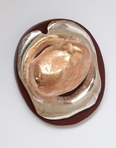 Elin Flognman. Brooch: Om Nom Nom, 2015. Copper, silver, gold, leather, steel.