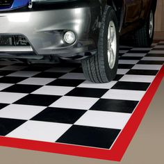 G Floor Black and White Checker Pattern Parking Mats are solid vinyl parking mats. Comes in several sizes for small equipment and larger sizes for vehicles. Made in USA. Rubber Garage Flooring, Garage Floor Mats, Aquaguard Flooring, Bedroom Flooring, Floors, Transition Flooring, Vinyl Floor Covering, Garage Interior, Interior Ideas