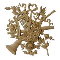 "Louis XVI Musical Instrument Onlay, 10 3/4""w x 11""h x 3/8""d"