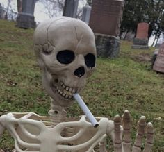 A skeleton soldier enjoys a smoke in his off time