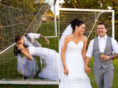 soccer goals wedding bride groom laughing angel photografix